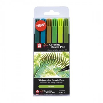 Koi color brush sæt, Botanic, 6 stk.