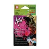 Koi akvarel pocketbox, 12 Metallic og Flourescerende farver + pensel