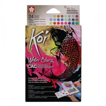 Koi akvarel pocketbox, 24 metallic, flourescerende og pearlescent farver + pensel